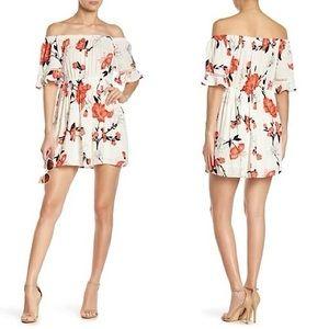 FAVLUX White Floral Off The Shoulder Mini Dress